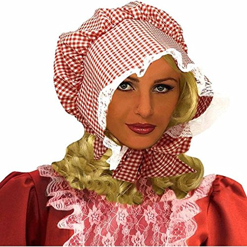 Red Gingham Plaid Pioneer Lace Trim Bonnet