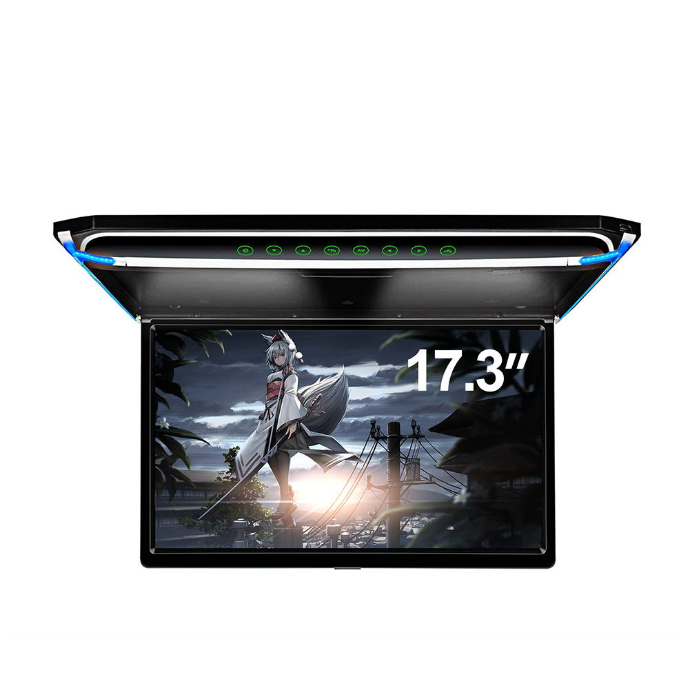 17.3'' Car Overhead Monitor 1080P Video HD Digital TFT Screen Wide Screen Ultra-Thin Mounted Car Roof Player HDMI IR FM USB SD NO DVD by Zbark