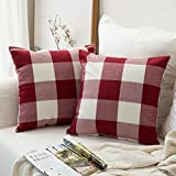MIULEE Pack of 2 Classic Retro Checkers Plaids Cotton Linen Soft Soild Christmas Decorative Square Throw Pillow Covers Home Decor Design Set Cushion Case for Sofa Bedroom Car 18x18 Inch 45x45 cm