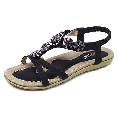 538163e54f5c Zicac Women s Open Toe Sandals Summer Bohemia Rhinestone Flower Bead Folk  Dunlop Sandals Boho Beach Flip Flops Elastic T-Strap Post Thong Flat Sandals  Shoes
