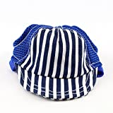 Midlee Striped Baseball Dog Hat 13-18'' Adjustable Chin Strap by (Medium, Blue)