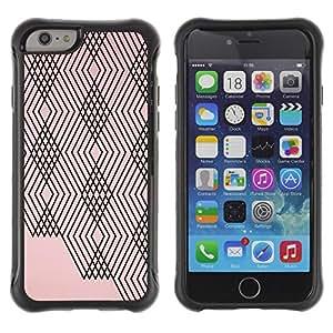 Híbridos estuche rígido plástico de protección con soporte para el Apple iPhone 6 (4.7) - pink peach black lines checkered pattern