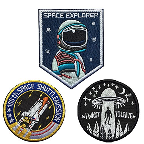 SpaceCar Bundle 3 Pieces NASA Astronaut, 100th Space Shuttle Mission, I Want to Leave Tactical Morale Embroidery Hook & Loop Decal Patches
