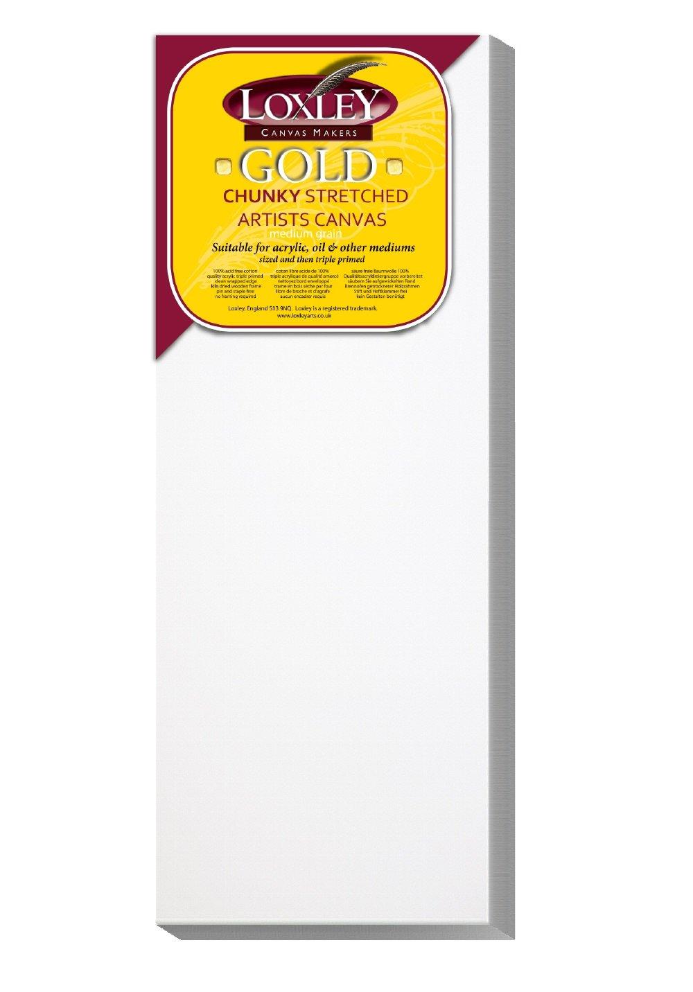 Loxley Gold - Tela rettangolare per uso artistico, di qualità, bordo: 37 mm, 40 x 15 cm LCC-166
