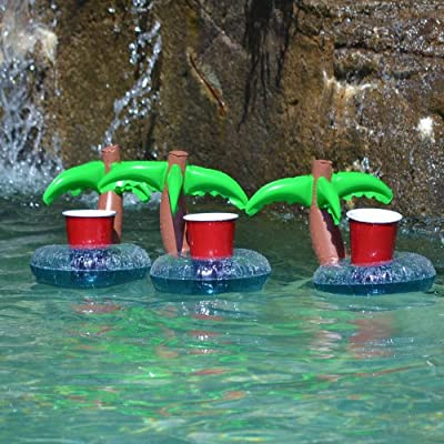 GoFloats Inflatable Pool Drink Holders (3 Pack) Designed in the US   Huge Selection from Unicorn, Flamingo, Palm and More   Float Your Hot Tub Drinks In Style: Clothing