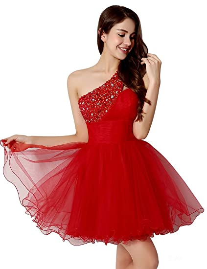 Clearbridal Girls Short One Shoulder Prom Dresses Gowns Red CSD230-UK6