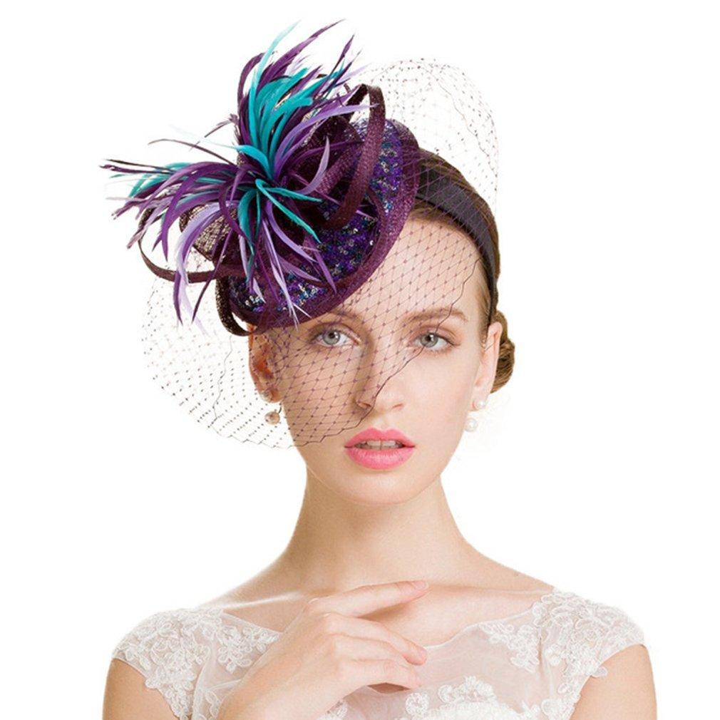 Women Fascinator Hat,Purple Sinamay Feathers Veil Wedding Derby Cocktail Fedoras