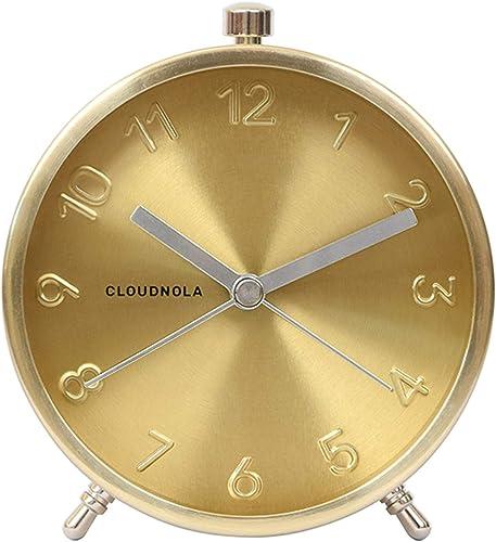Cloudnola Glam Metal Alarm Clock Gold, 4.3 inch Diameter, Battery Operated Quartz Movement, Silent Non Ticking