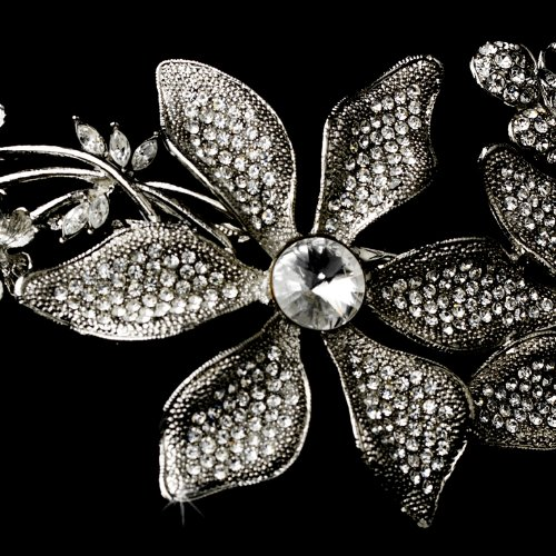 Whimsical Antique Silver Side Accented Flower & Butterfly Headpiece