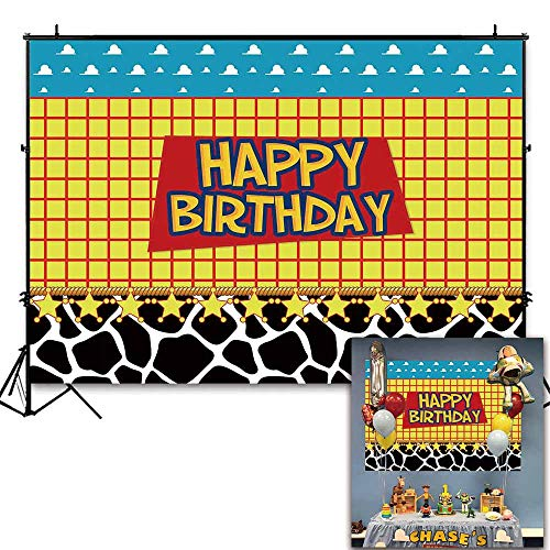 Funnytree 7x5ft Happy Birthday Party Backdrop Kids Cartoon Themed Baby Boy Photography Background Western Cowboy Cowgirl Sky Clouds Cow Print Photo Booth Decorations Cake Table Banner -