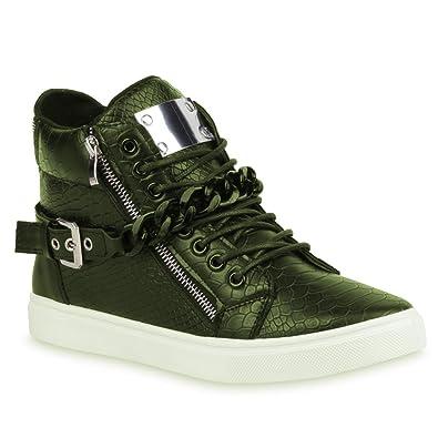 Großhändler 293eb d66c6 Stiefelparadies Stylische Herren Sneakers High Top Sportschuhe Zipper  Ketten Flandell