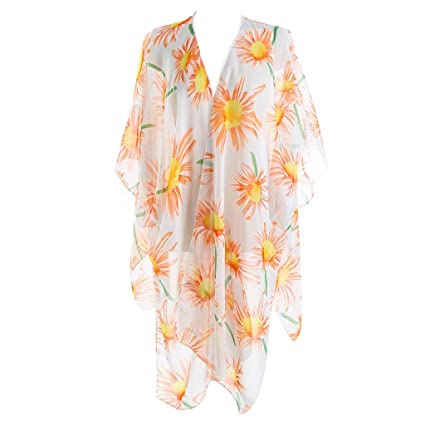8a21c57ced RingBuu Swimsuit Cover Up - Women Half Sleeves Swimsuit Cover Up Beach  Sundress Colored Bohemian Sunflower