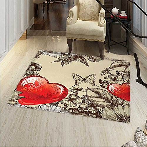Love Customize Floor mats for home Mat Pattern Valentines Day with Flowers and Butterfly Holiday Love Antiquity Vintage Oriental Floor and Carpets 36