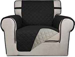 PureFit Reversible Quilted Sofa Cover, Water Resistant Slipcover Furniture Protector, Washable Couch Cover with Non Slip Foam and Elastic Straps for Kids, Dogs, Pets (Chair, Black/Beige)