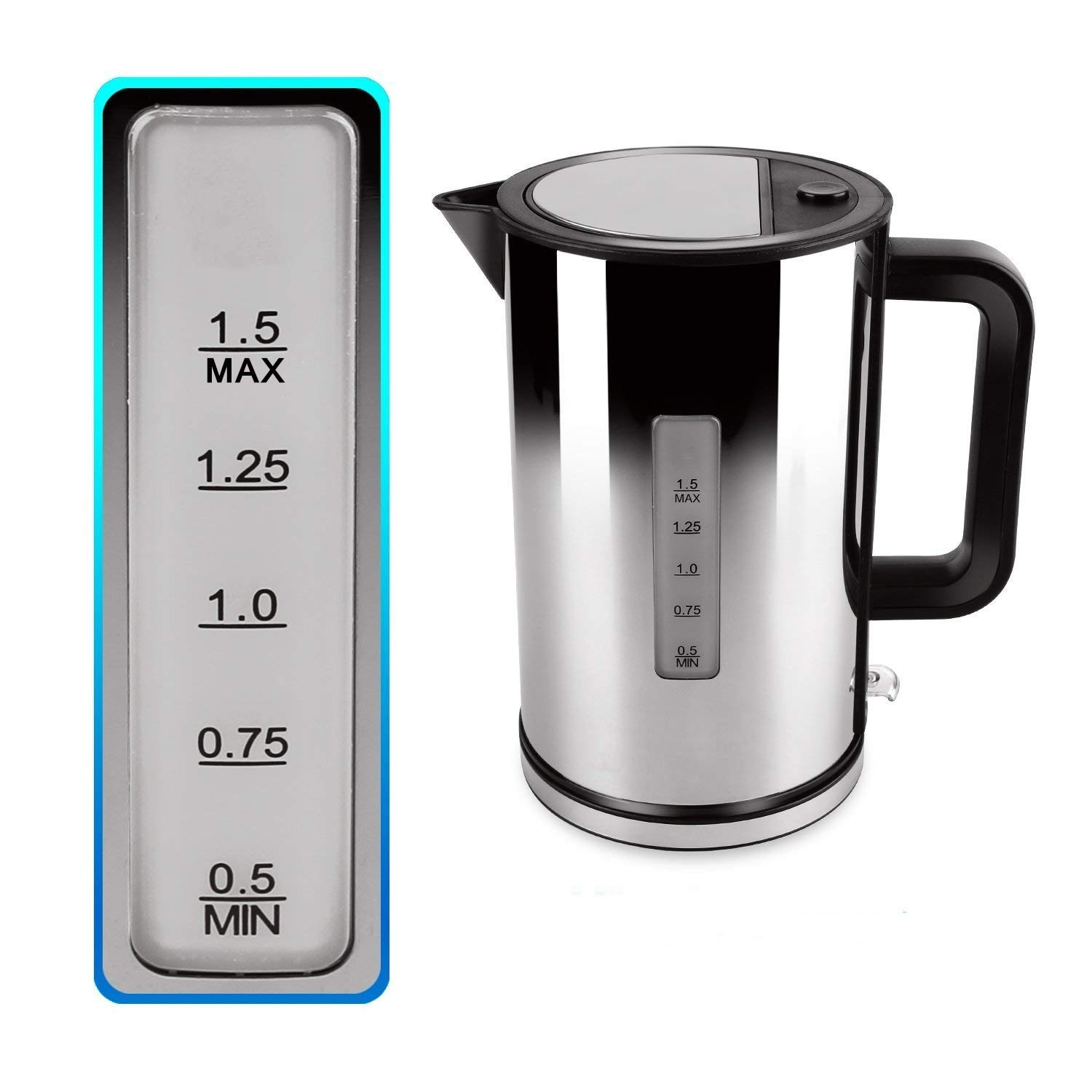 Electric Kettle, CUSIBOX Premium 304 Stainless Steel Water Kettle Double Wall Cordless Electric Boiler Kettle, 1.7 Liter, 1500Watts, Auto Shut Off With Boil Dry Protection