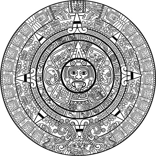 Morgan Graphics Cool Black and White Ancient Aztec Mayan Stone Icon Cartoon (4