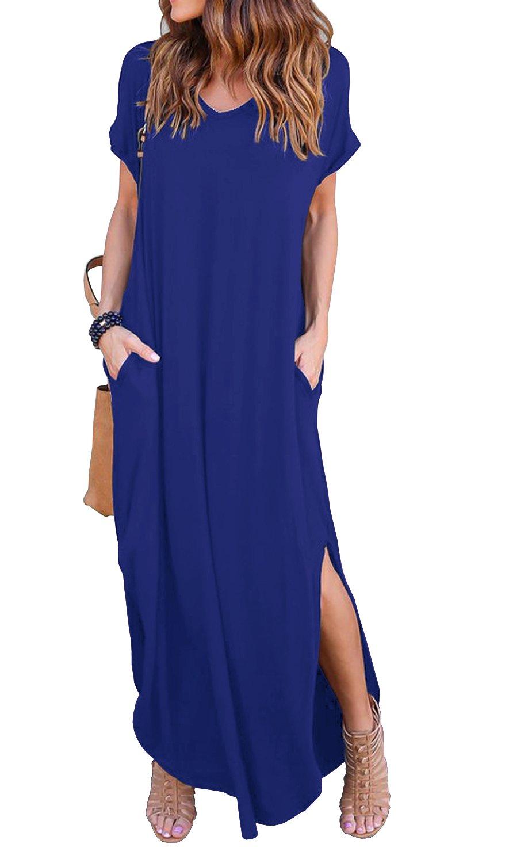 GRECERELLE Solid V-Neck Pocket Loose Maxi Dress Royal Blue M