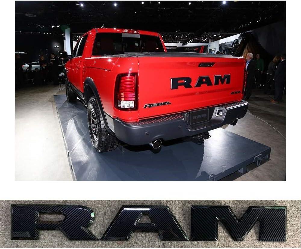 SENYAZON Ram Emblem Tailgate RAM Letters Badge Nameplates Car Sticker for Dodge Ram Accessories Carbon Fiber