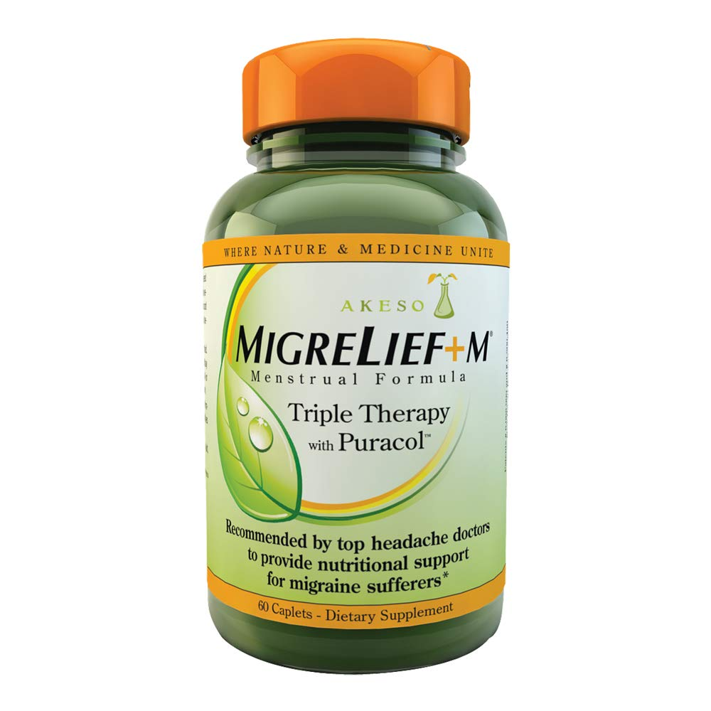 MigreLief+M - Nutritional Support for Women Suffering with Menstrual/Hormonal Migraines - 60 Caplets/1 Month Supply by MigreLief