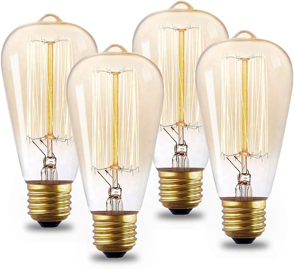 4 Pack Vintage Edison Light Bulbs St64 Incandescent Light Bulb 60 Watt Warm White 2300k E26 27 Medium Standard Base Bulb For Home Light Fixtures Amazon Com
