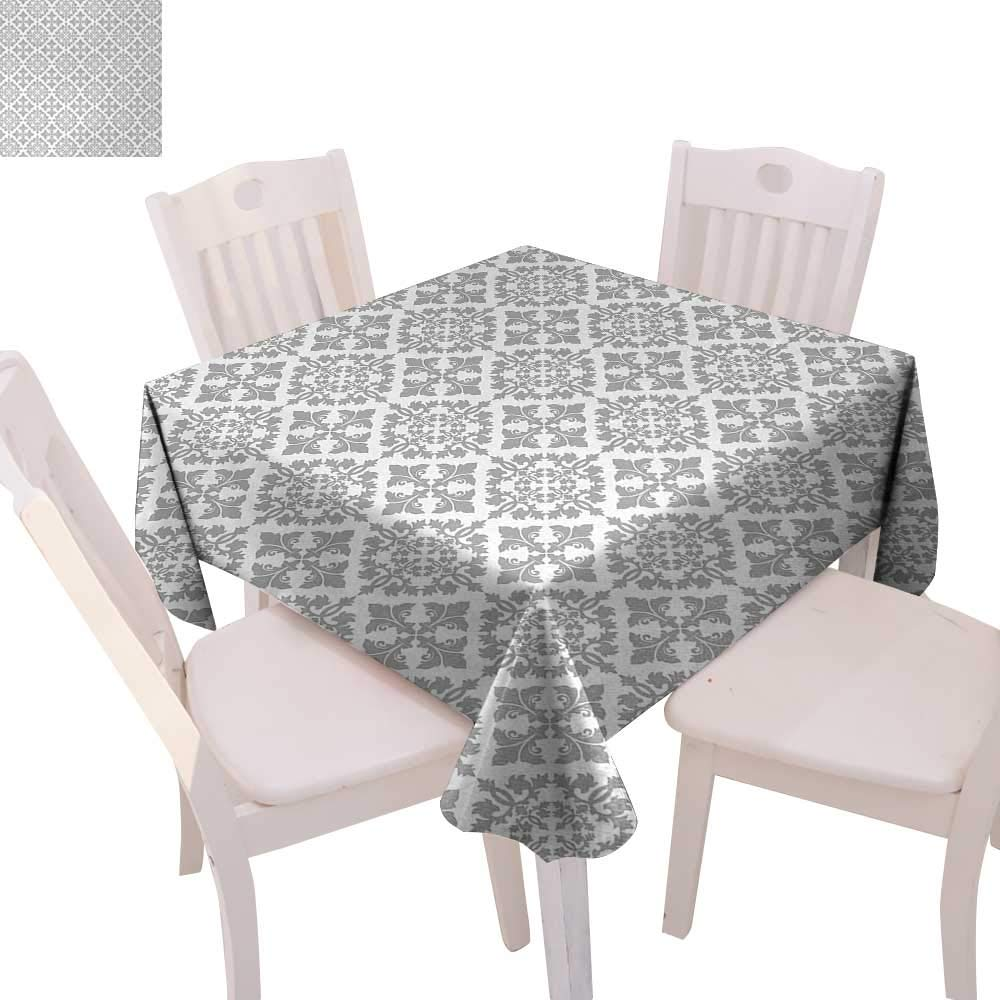 """cobeDecor Grey Stain Resistant Wrinkle Tablecloth Antique Victorian Floral Retro Patterns in Modern Graphic Print Old Fashioned Art Square Wrinkle Resistant Tablecloth 50""""x50"""" Gray White"""
