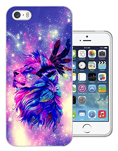 002864 - Galaxy Stars Colourful Lion Indian Feathers Design iphone 4 4S Fashion Trend CASE Gel Rubber Silicone All Edges Protection Case Cover