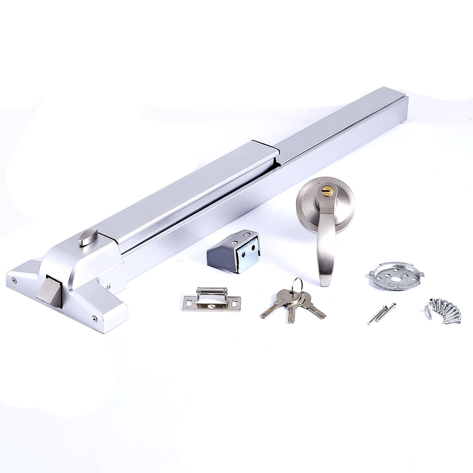 OrangeA Push Bar Panic Exit Device Emergency Lock made by Stainless Steel 400 Series (Push Bar with Exterior Lever)