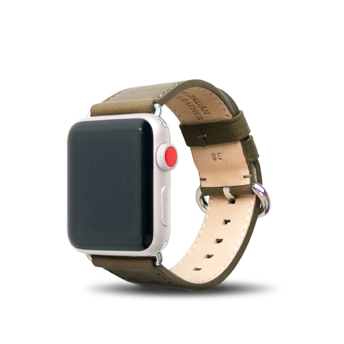 Alto Handmade Premium Italian Leather Strap for Apple Watch 40mm / 38mm (Olive)