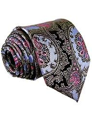 Shlax & Wing Tie Paisley Pink Black Blue Men Necktie Long Size Silk Wedding P...