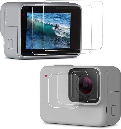 Lente de 2Pcs y pantalla de vidrio templado Protector Película Protectora para Gopro Hero 7 6 5