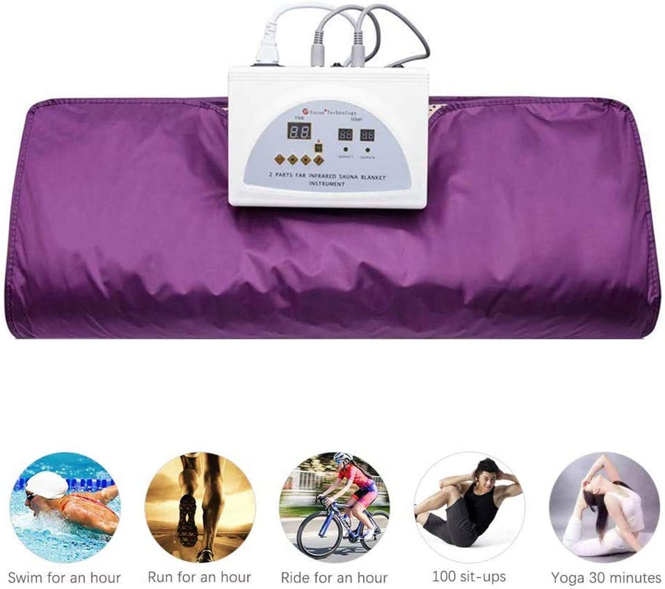 TTLIFE Sauna Blanket Digital Heat Sauna Slimming Blanket 2 Zone Controller Body Shaper Weight Loss Professional Detox Therapy Anti Ageing Beauty Machine Purple