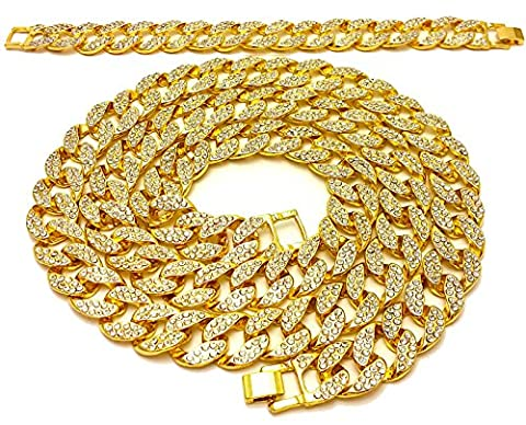 Mens Iced Out 14K Yellow Gold Finish Miami Cuban Link Chain 15mm 36