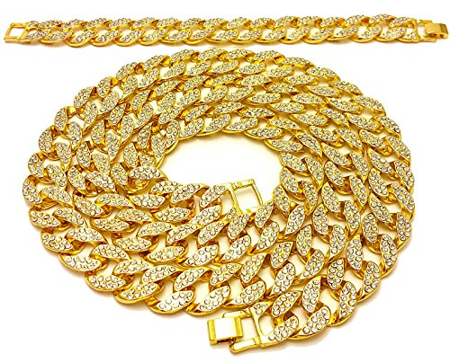 Link Gold Bracelet Chain - Mens Iced Out Hip Hop 14K Gold Finish Full CZ Miami Cuban Link Chain 15mm 30