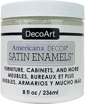 DecoArt Décor Americana Decor Satin Enamels 8oz PureWht, 8 Fl Oz