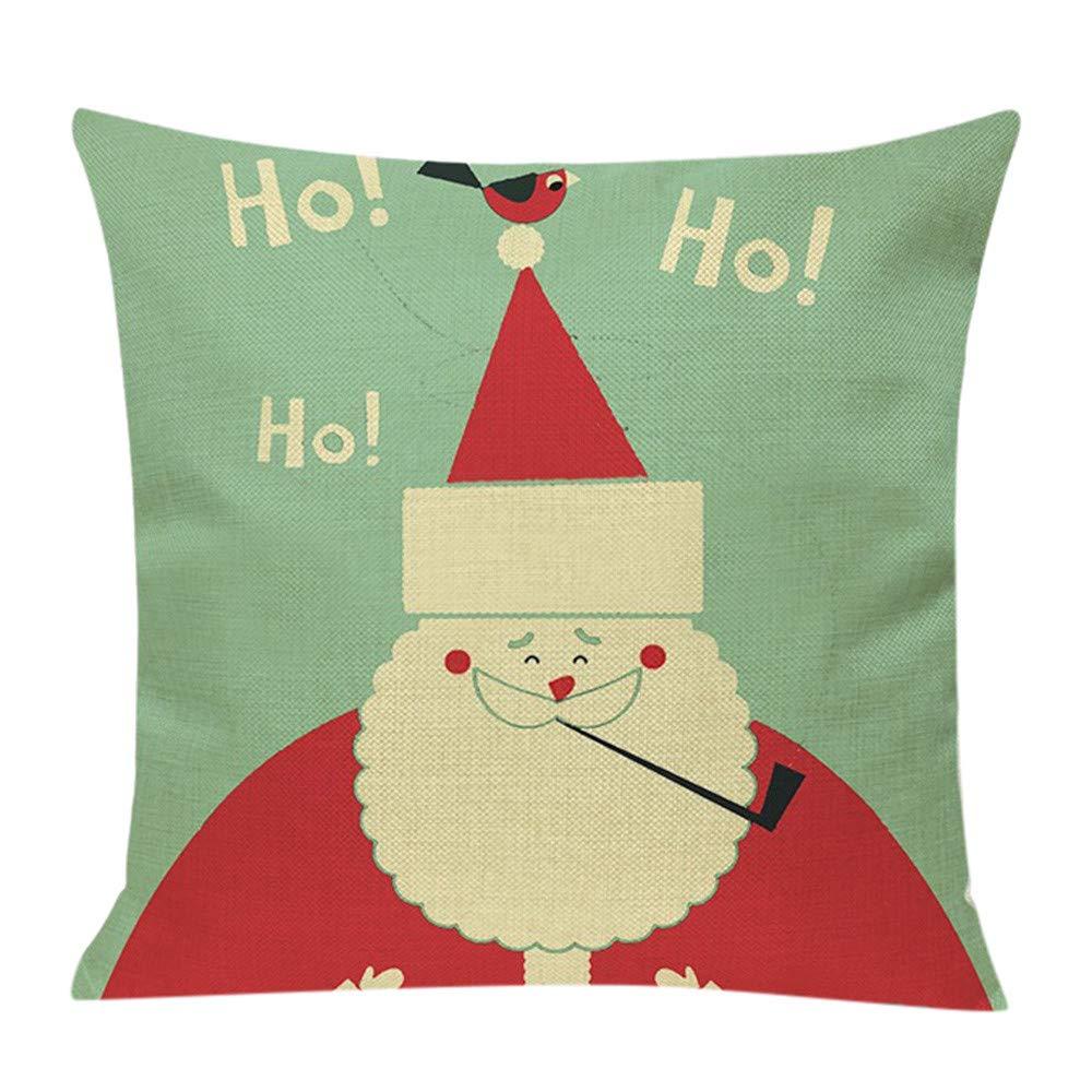 Merry Christmas! Pillow Covers,Xmas Home Decor Santa Snowman Letters Printed Pillowslip Square Cotton Linen Cushion Case (18''x18'', G)