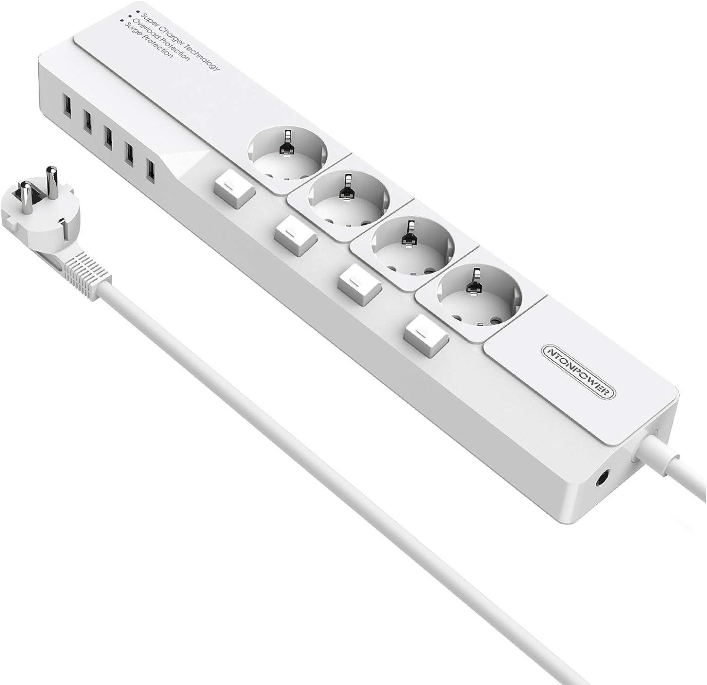 Noir NTONPOWER Bloc Multiprise Multifonction Parasurtenseur /à 8 Prises 5 USB Ports de 1700 Joules et Cordon de 3m pour Maison et Bureau Multiprise Murale 16 A//4000 W Protection Enfant