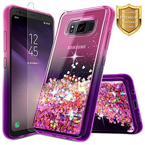 Galaxy S8 Active Case w/[Tempered Glass Screen Protector], NageBee Glitter Liquid Quicksand Waterfall Floating Flowing Sparkle Bling Girls Cute Case for Samsung Galaxy S8 Active -Pink/Purple