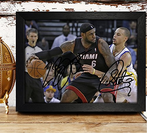 Framed Lebron James & Stephen Curry Signed Autographed Photo Reprint Rp Pp - Cleveland's