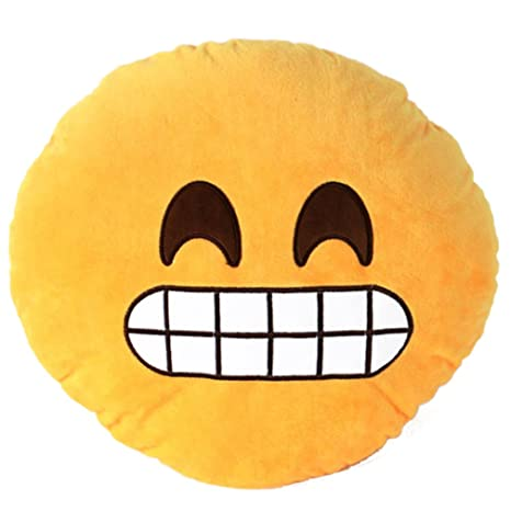 V-SOL Con Dientes Sonrisa Cojín Pillow Almohada Emoji Emoticono Emoción Redonda Emoticon Smiley Peluche