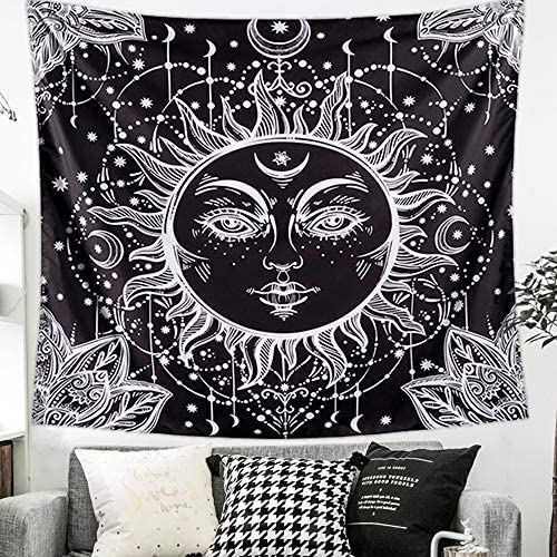 """51.2/""""x59.1 Letsroam 2 Sun and Moon Psychedelic Black and White Celestial Indian Bohemian Hippy Mandala Tapestry Dorm Decor Wall Hangings for Bedroom Living Room Face"""