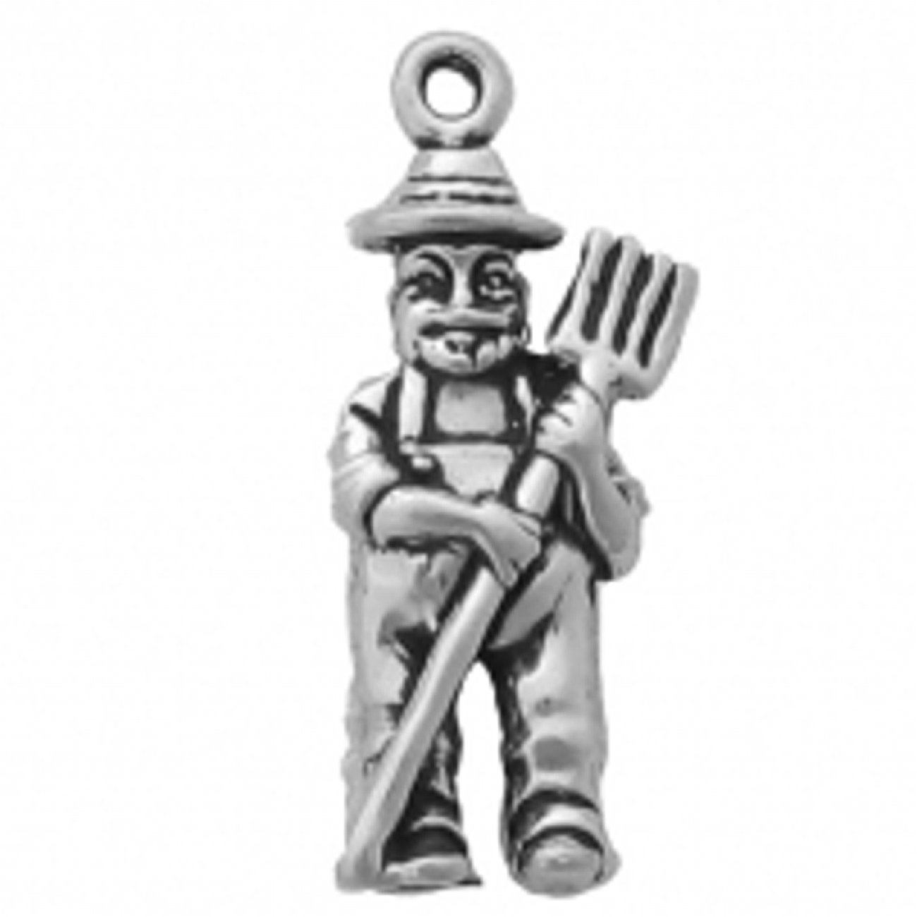 Sterling Silver Girls .8mm Box Chain 3D Old McDonald Farmer In Overalls And Pitchfork Pendant Necklace