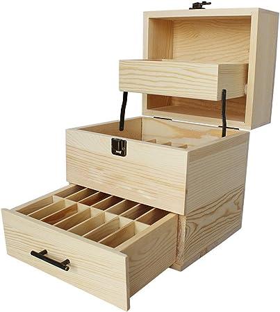 Esenciales Cajas de almacenamiento de petróleo Ampliación de madera aceite esencial caja de múltiples bandejas Organizador aceite esencial caja de madera (Color : Natural , tamaño : 21.5X18.5X25CM) : Amazon.es: Hogar