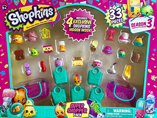Shopkins Season 3 Super Shopper Pack, Includes 4 Exclusive Shopkins Hidden Inside - Characters May Vary (33 Pieces) ()