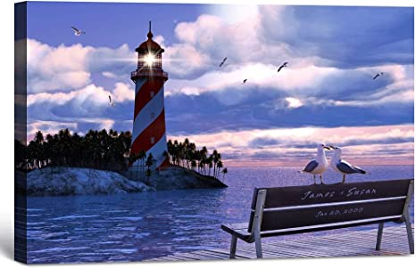 Lighthouse with Bird GLOSSY Photo Picture ** PERSONALIZED ** Wall Decor Print