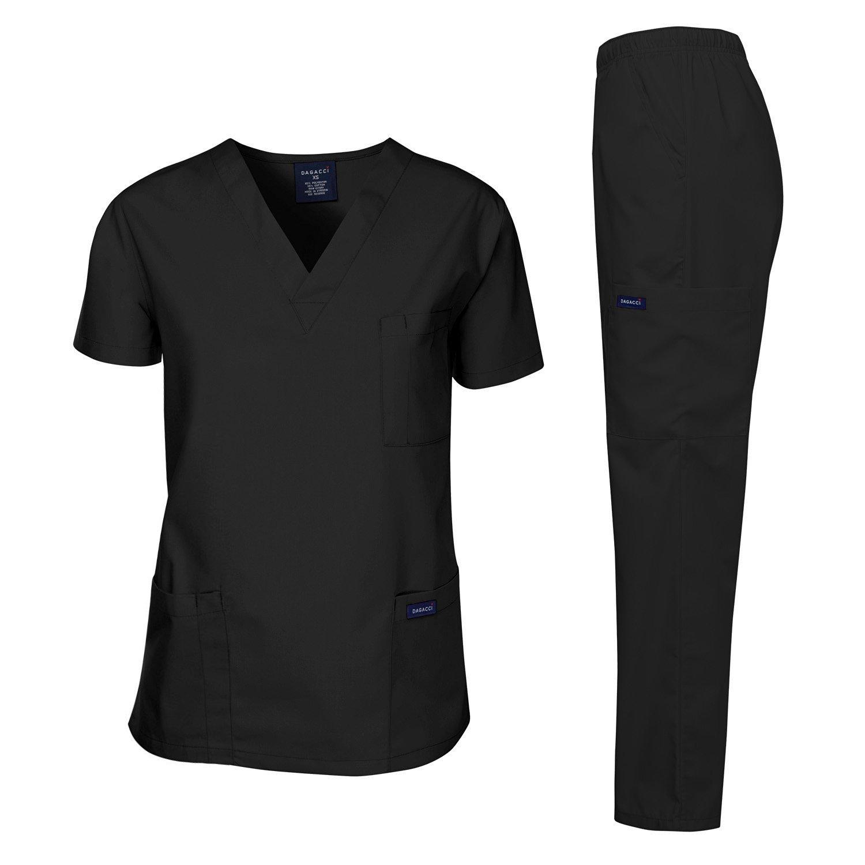 Dagacci Scrubs Medical Uniform Men Scrubs Set Medical Scrubs Top and Pants (X-Large, Black)