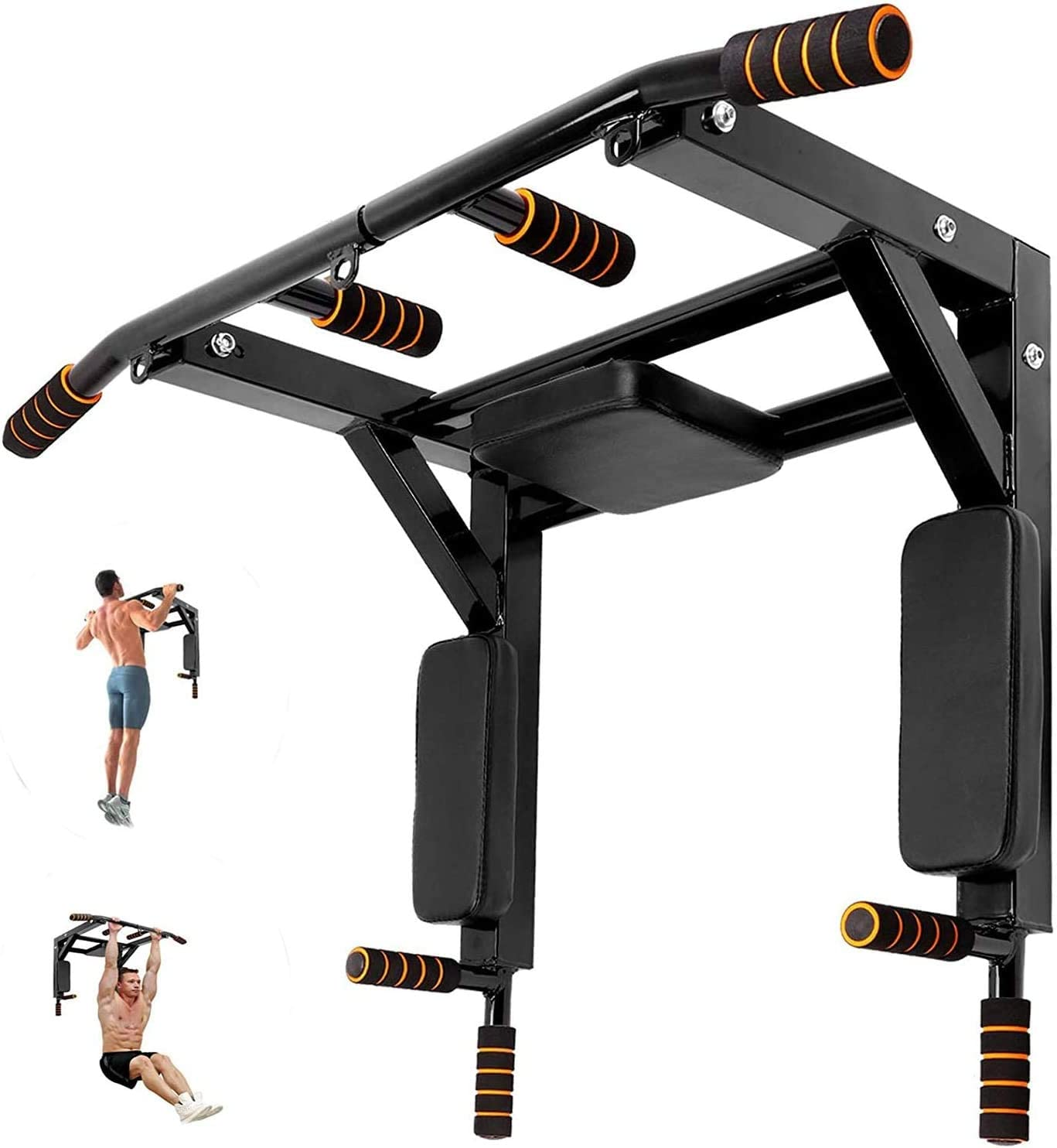 Wall Mounted Pull Up Bar Dip Station 2 in 1 Multifunctional Chin Up Bar, for Full-Body Strength Workouts Home Indoor Gym, Power Tower Exercise Training Equipment Fitness Set Support to 440Lbs