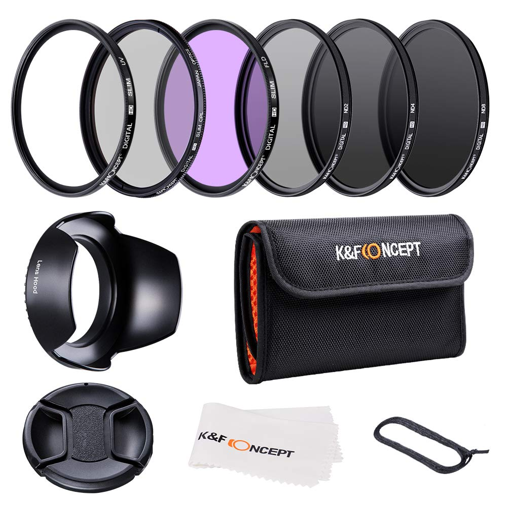 K&F Concept 62mm Slim UV Protection Polarizing Slim CPL Circular Polarizing Slim FLD Neutral Density ND2 ND4 ND8 Lens Filter Kit Set by K&F Concept