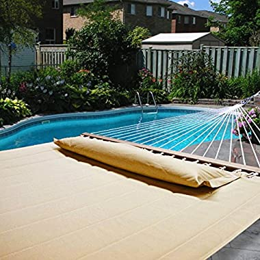 Hammock Outdoor Quilted Cotton Fabric Beach Rope Hammocks Swing Bed Back Yard with Pillow New Tan