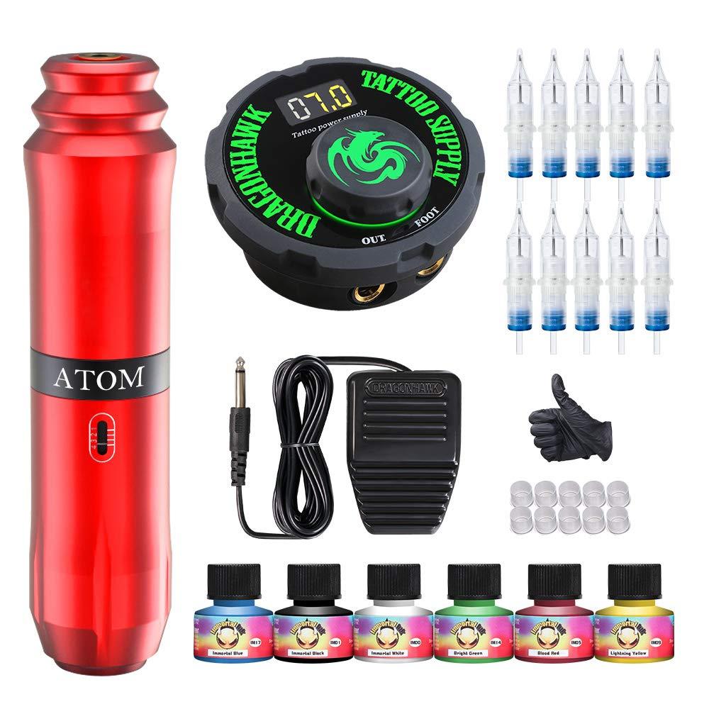 Dragonhawk Tattoo Machine Kit Rotary Atom M1 Pen Gun Power Supply Disposable Cartridges Needles Ink Colors