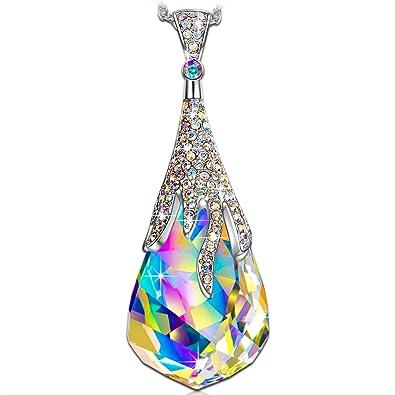 2d001de66e69 Kate Lynn Regalos Navidad Mujer Collar Gotas Mágicas Colgante con Aurore  Boréale Cristales de Swarovski Joyería Cumpleaños Aniversario Día de San  Valentín ...